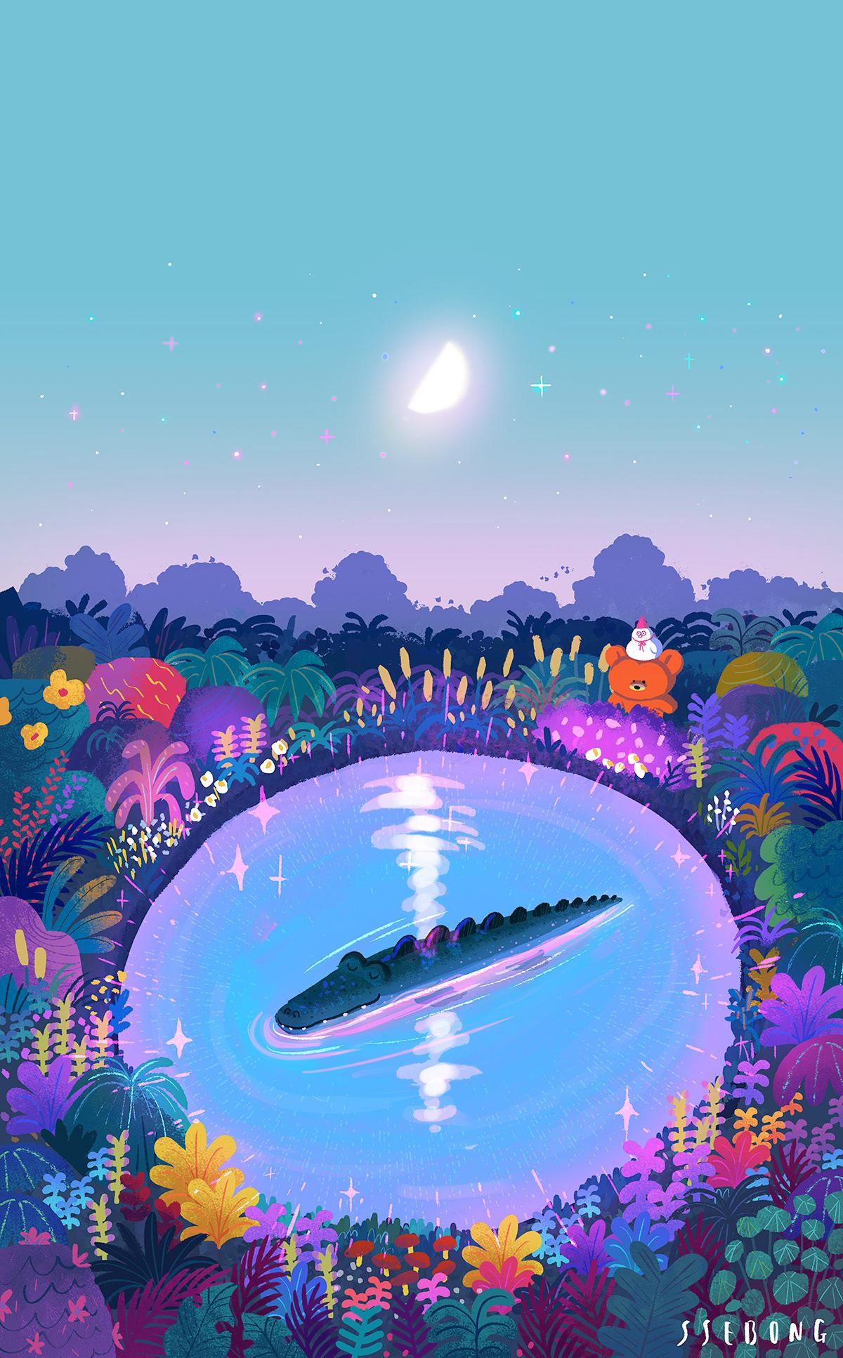 Image may contain: cartoon and moon