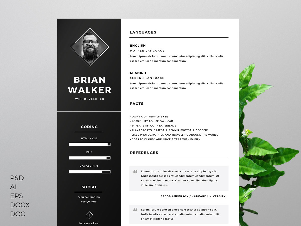 Free Resume Template For Word Photoshop Illustrator On Pantone Canvas Gallery