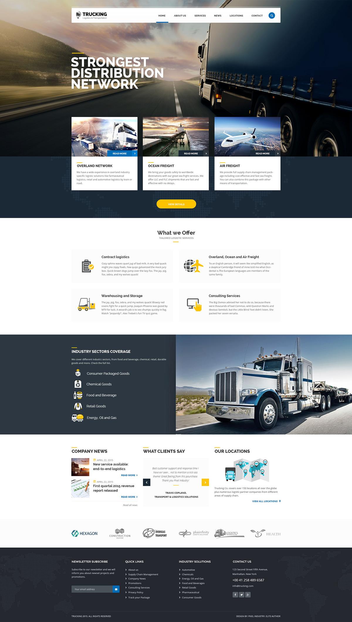Trucking - Logistics and Transportation PSD Template on Behance