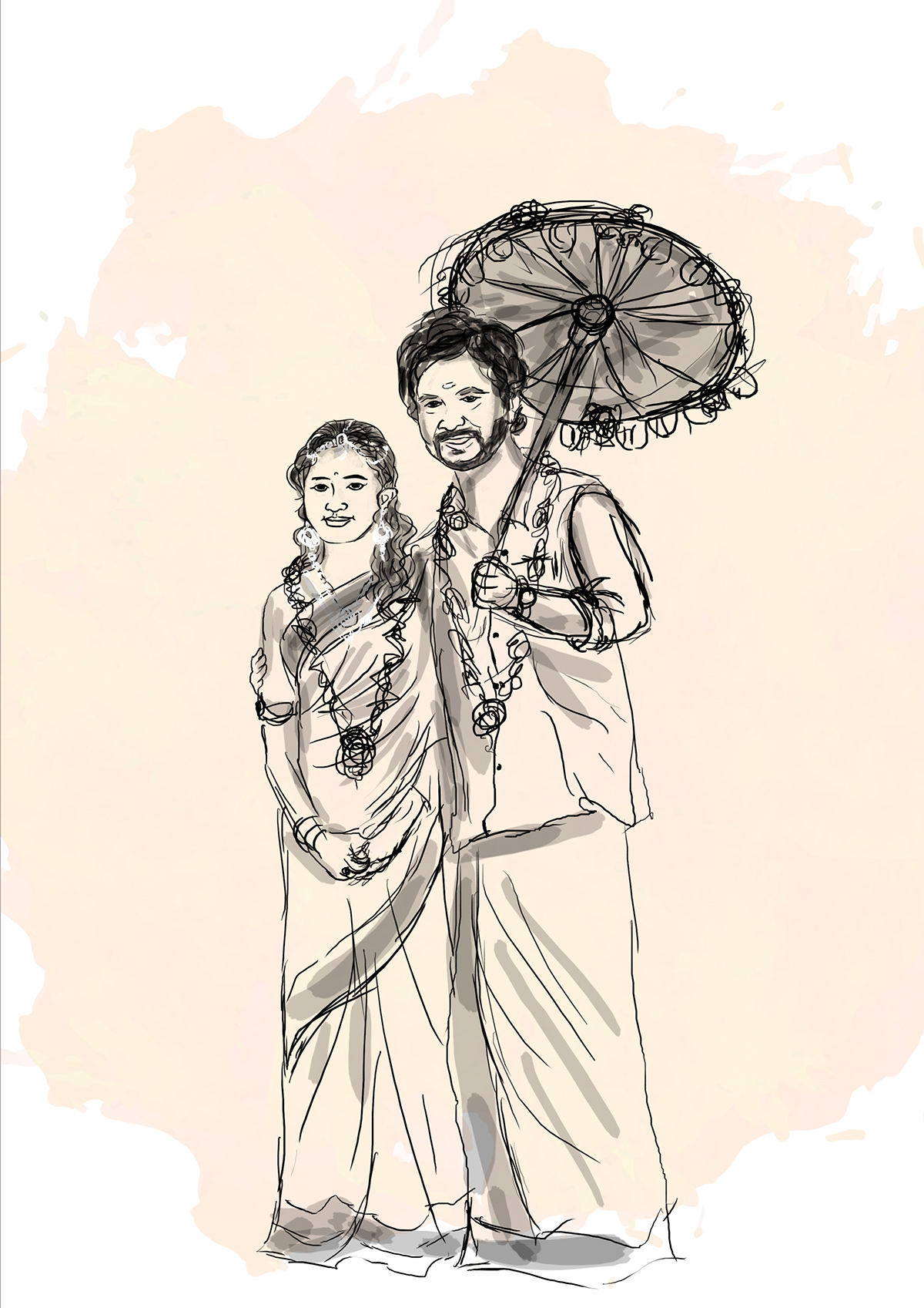 South Indian Mallu Wedding Invitation Card Cover Design On Pantone Canvas Gallery