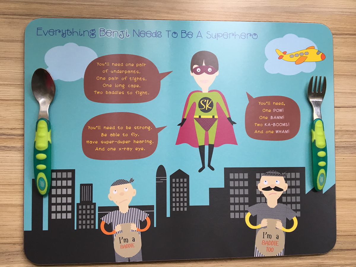 Superhero Placemats - kids reading tool project on Behance