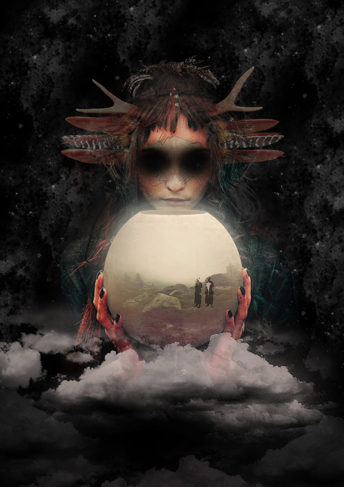 tribal art poster nightclub shaman graphic design  berlin