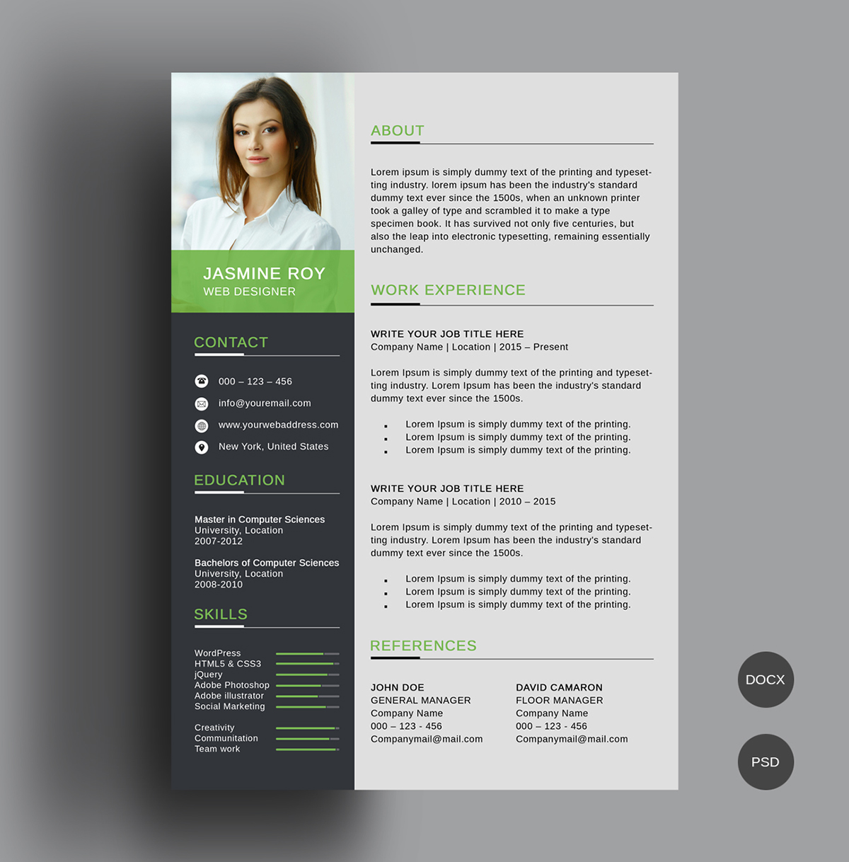 Clean Resume Template Free Download, Available In 3 Different Colors In  Photoshop (.psd) And MS Word (.docx) Format. Beautiful Resume Is Fully  Customizable ...
