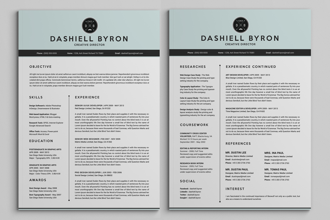 all in one two pages resume pack on behance
