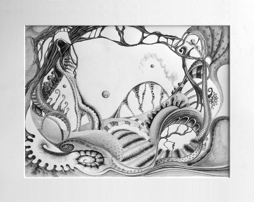 abstraction paysage crayon dessin ILLUSTRATION  noir et blanc Surrealisme surrealiste