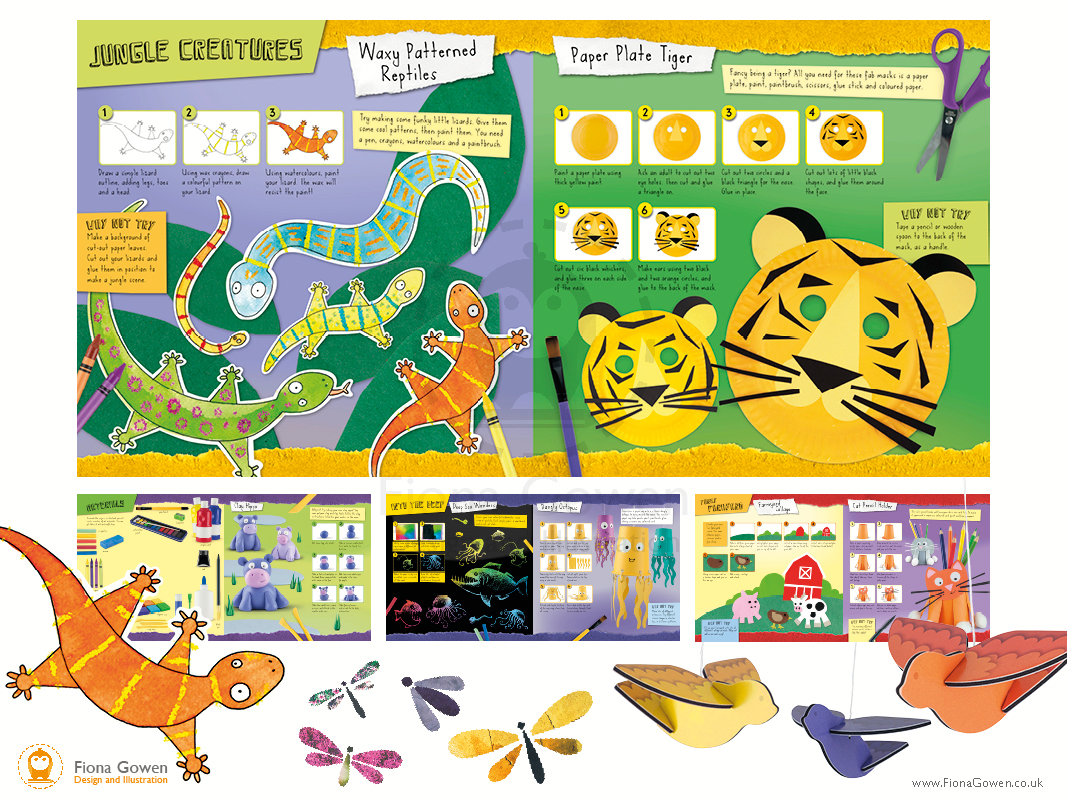 Mini Craft Animals book interior spreads with illustrated lizards and Tiger masks. Designed and illustrated by Fiona Gowen