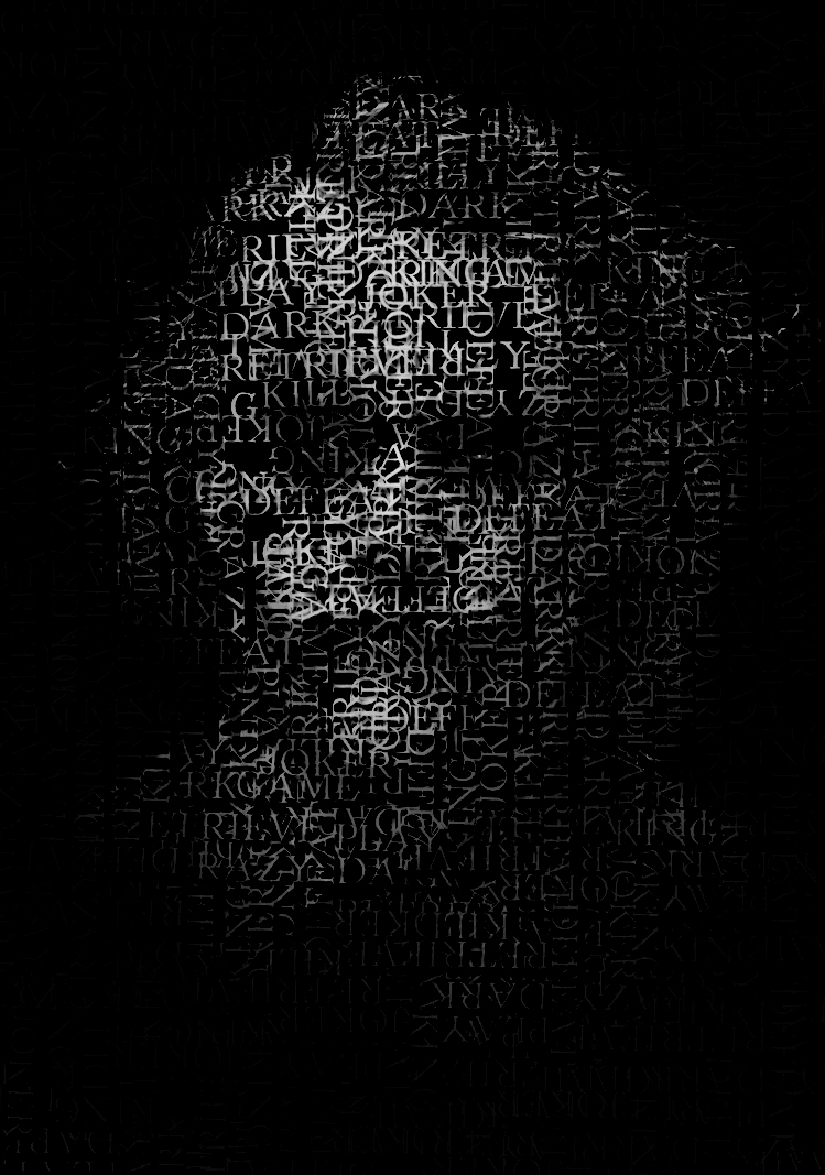 A black and white portrait of the joker from batman made up of evil words that describe him