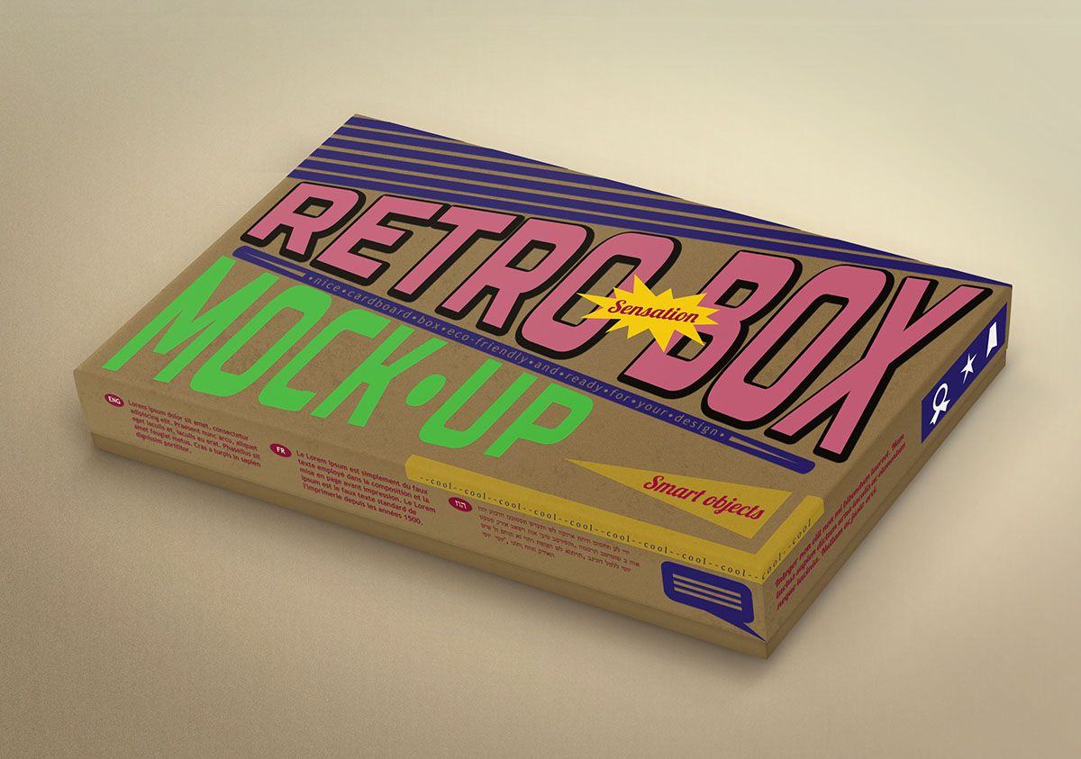 3D  realistic  carton  retro  vintage  mock-up