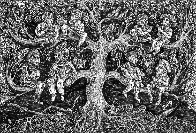 ink artwork philosophy  grotesque surrealism ILLUSTRATION  Tree  peace Drawing  rough