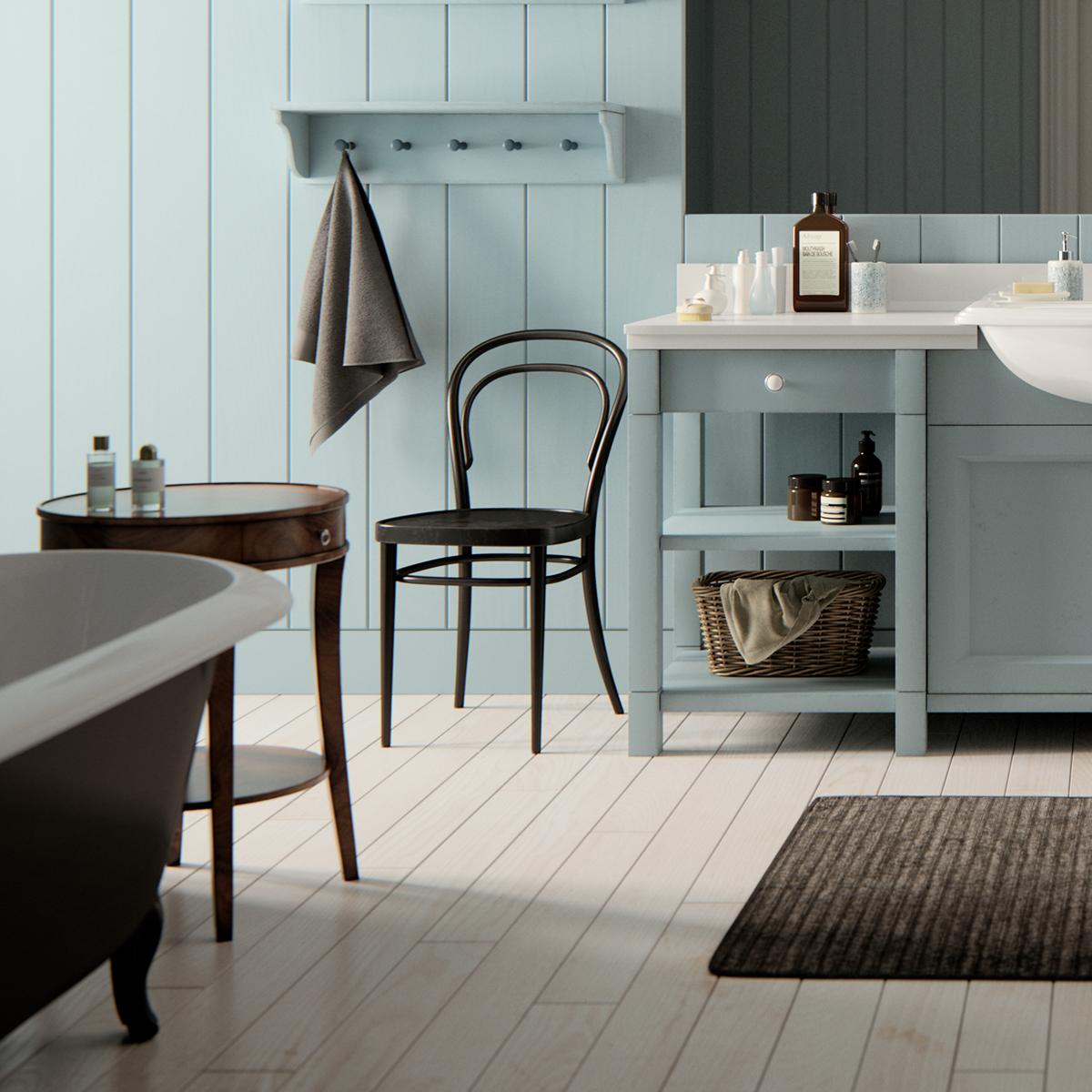 Blue Rustic Bathroom On Behance