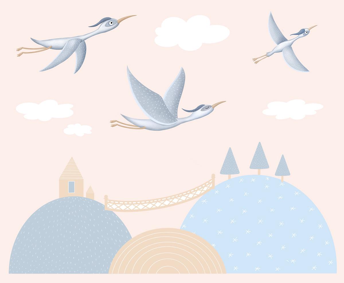 bird children ILLUSTRATION  Nature stickers