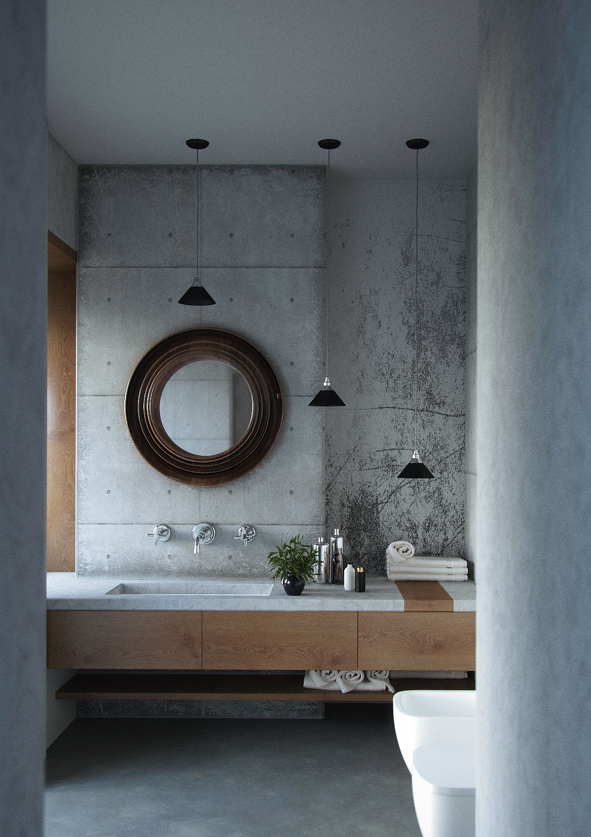 concrete bathroom interior on behance