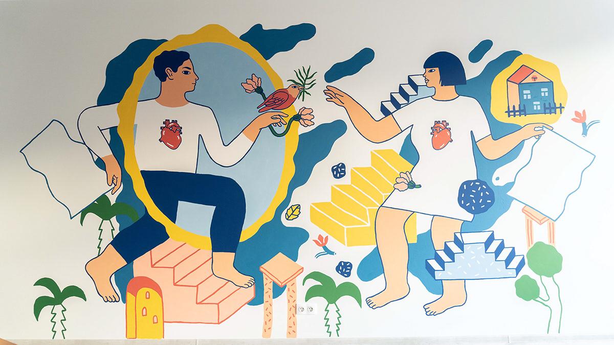 charity charity organization human drawing Mural nonprofit persian Refugees wallart