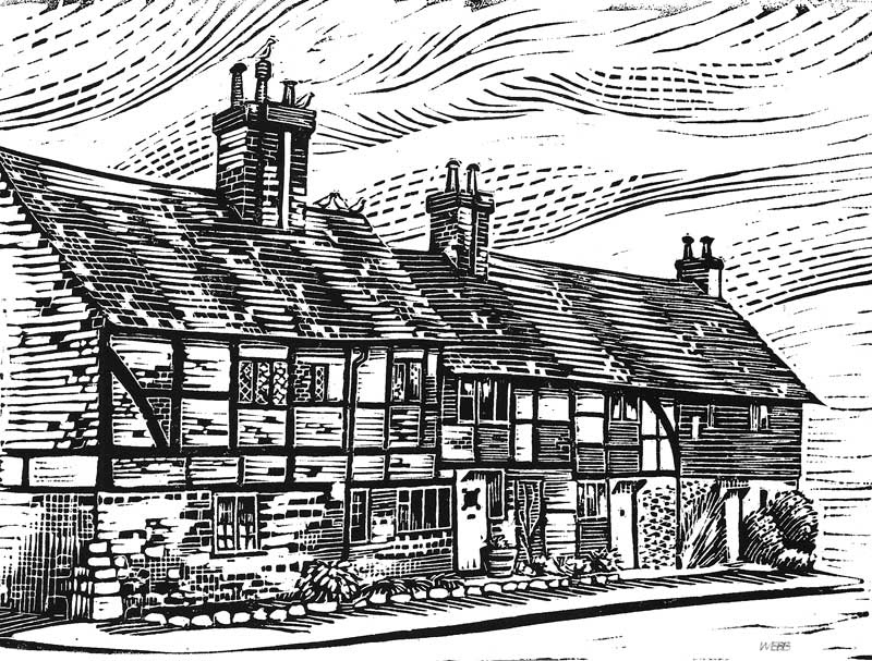 Linocut print of English cottages