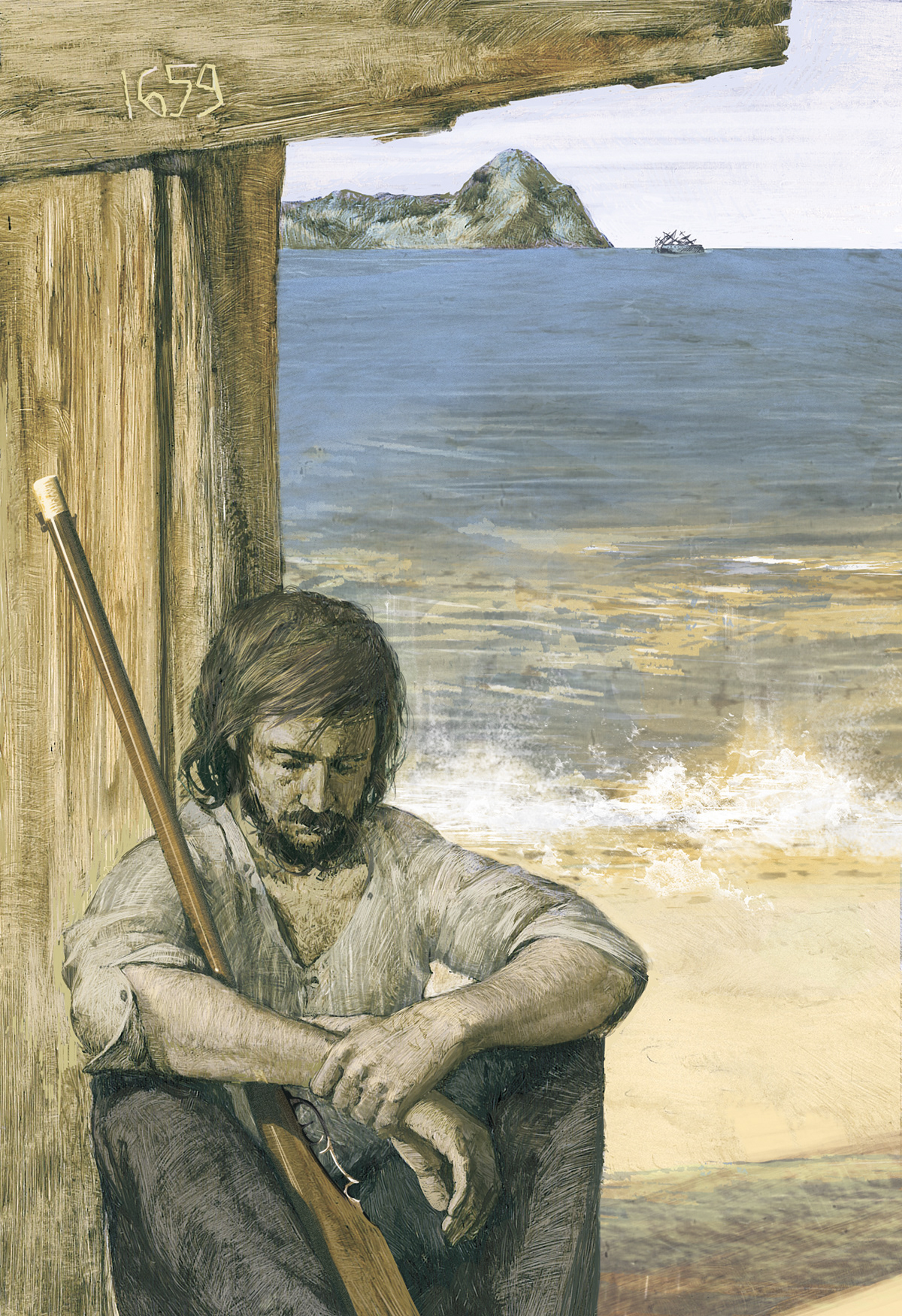 book design ILLUSTRATION  book illustration adventure robinson crusoe