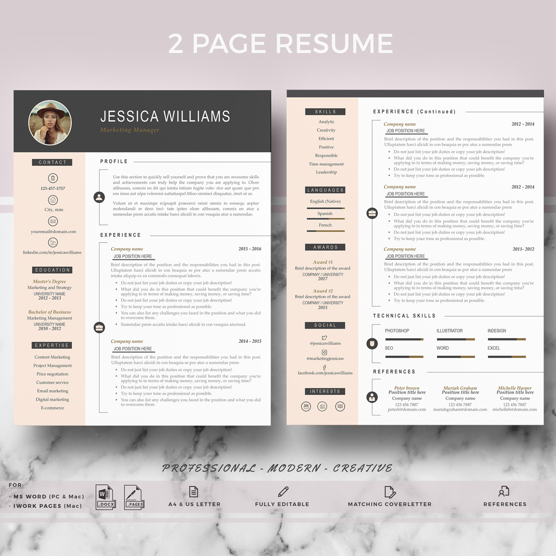 Professional Cv Resume Templates: Professional & Modern Resume Template