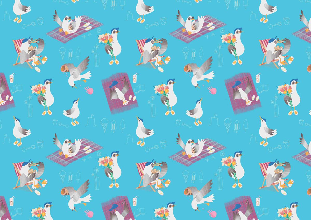 5SummerThings fresco ILLUSTRATION  pattern design  photoshop Repeat Pattern seagull illustrations seagulls surface pattern design