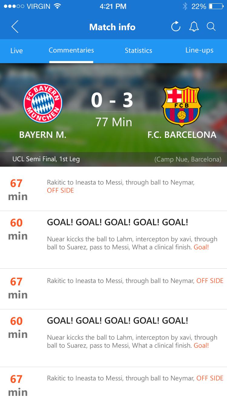 live score update football