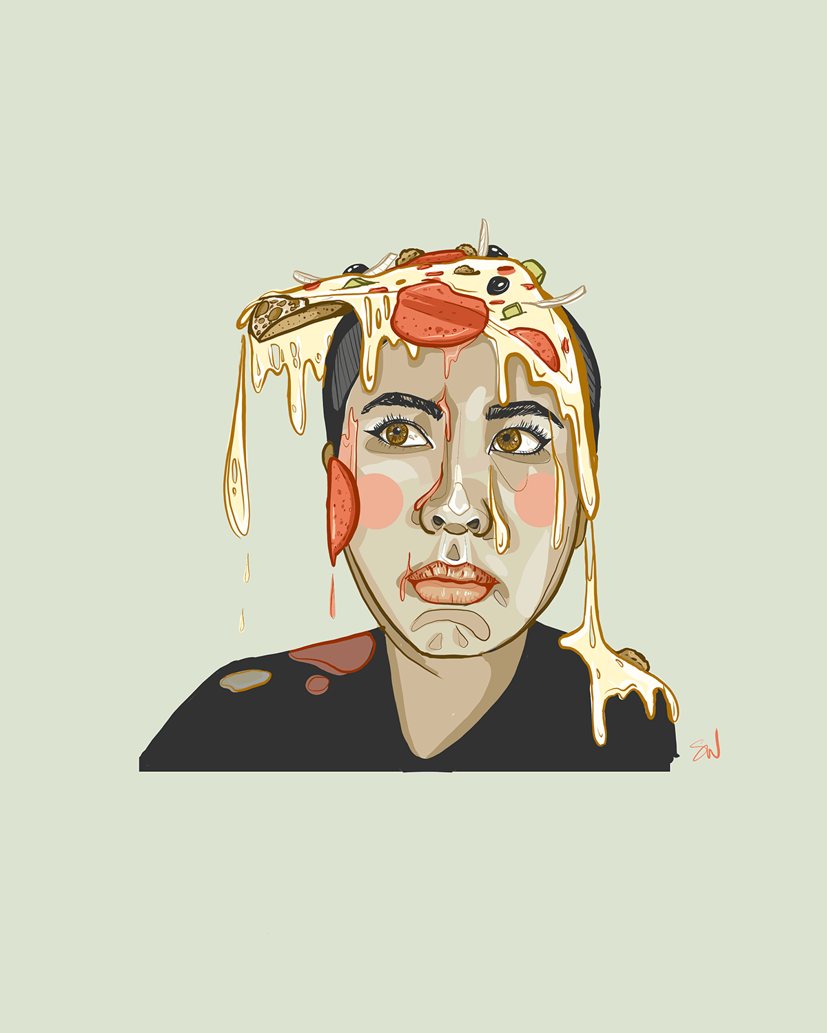 woman with a slice of pizza on her head with the cheese dripping down over her face