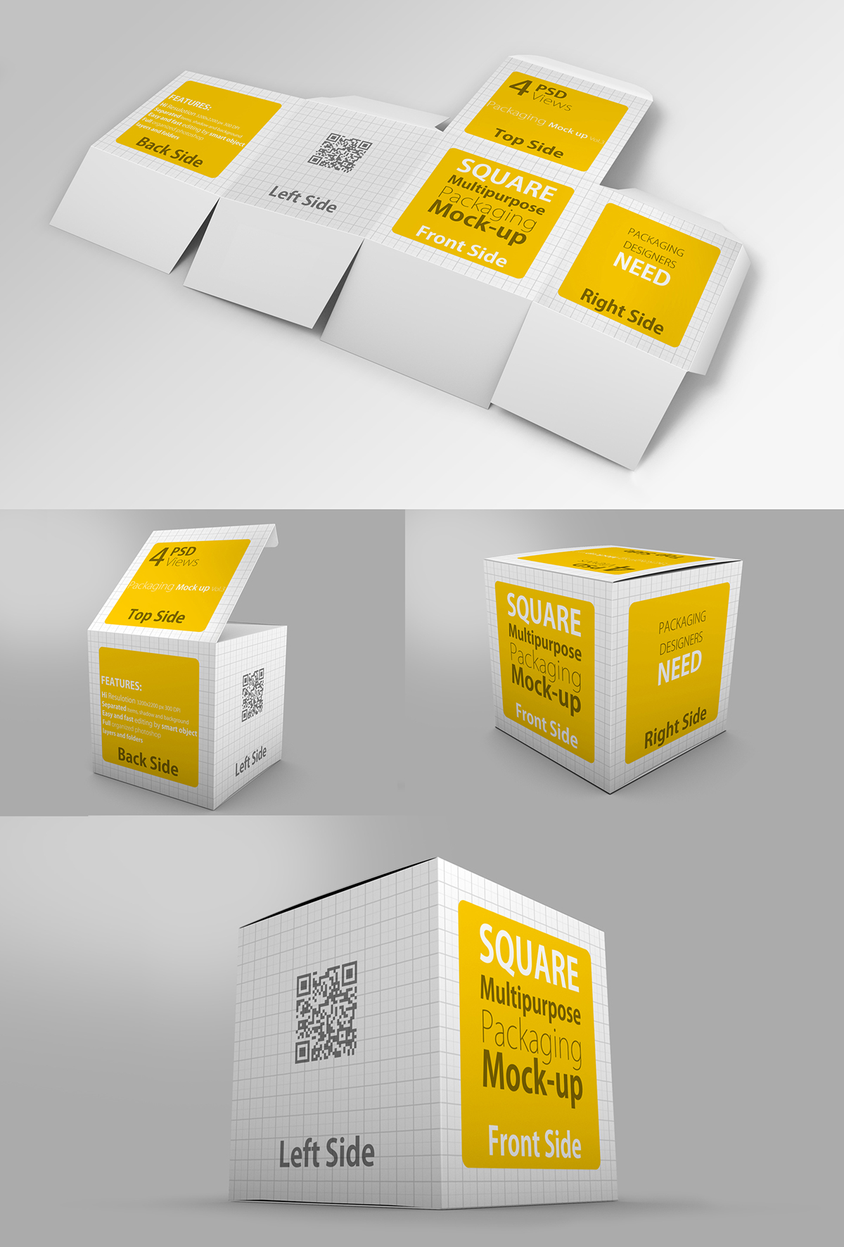 26ed7d6bb03 4 Multipurpose Package   Box Mock up on Behance