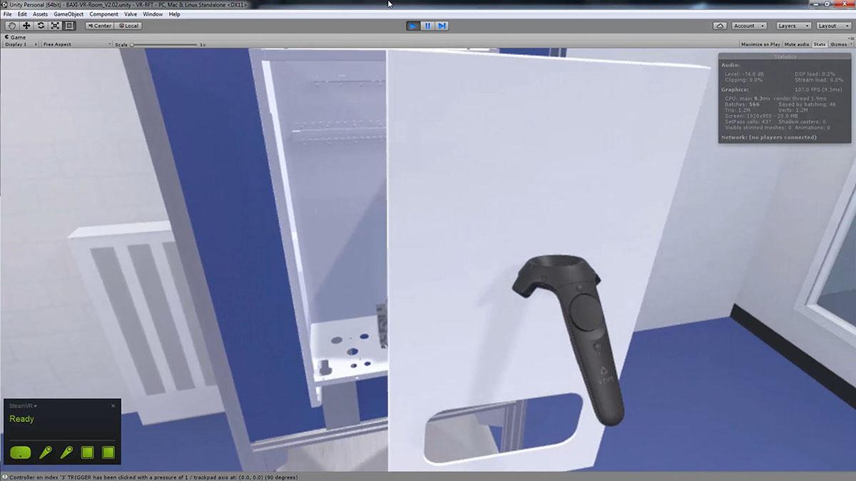 3D vr uniy3d htc vive simulation baxi Boiler unity