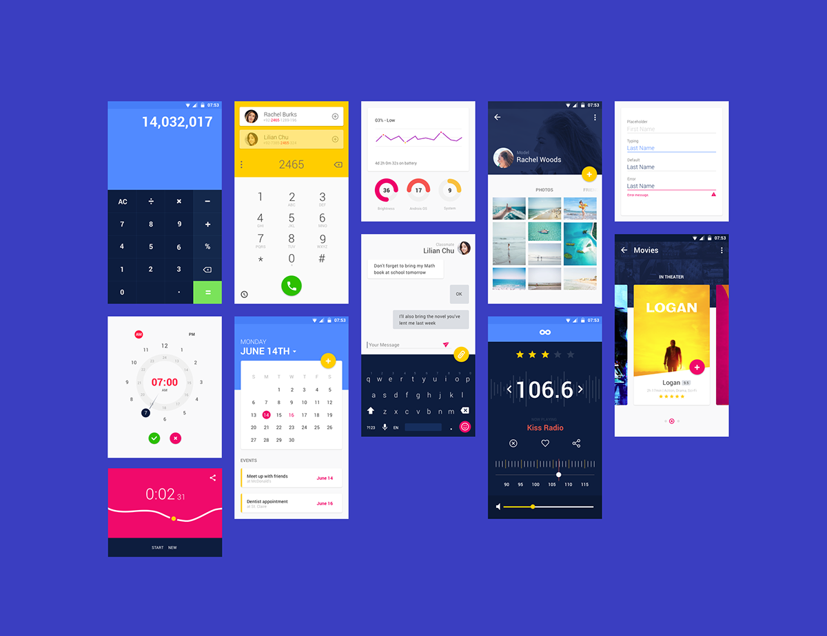 Free Material UI Kit ( sketch,  psd,  xd) on Pantone Canvas Gallery