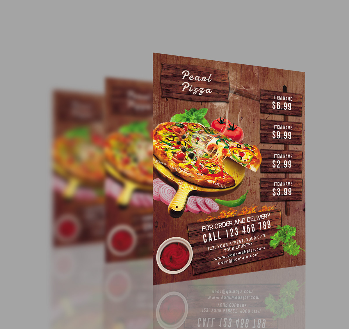 Pizza restaurant flyer poster on behance for Pizza sale flyer template