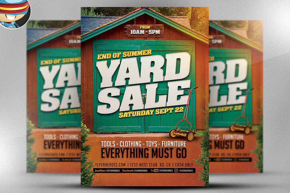 end of summer yard flyer template on behance our templates flyerheroes pro learn more about here end of summer yard flyer template is