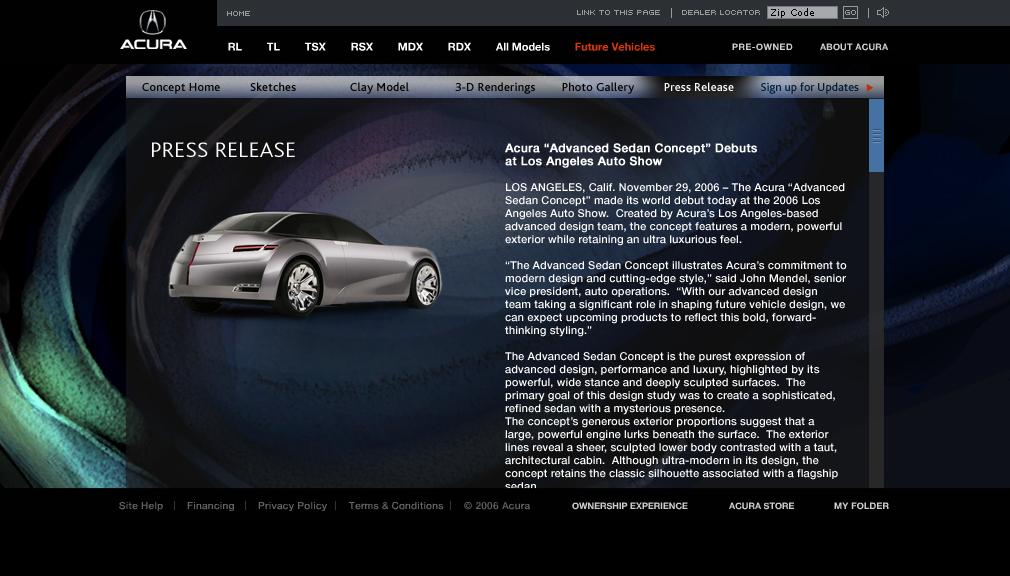 Acura Concept Vehicle Microsite on Behance on volkswagen website, john deere website, nissan website, infiniti website, lexus website, land rover website, porsche website, aston martin website, honda website,