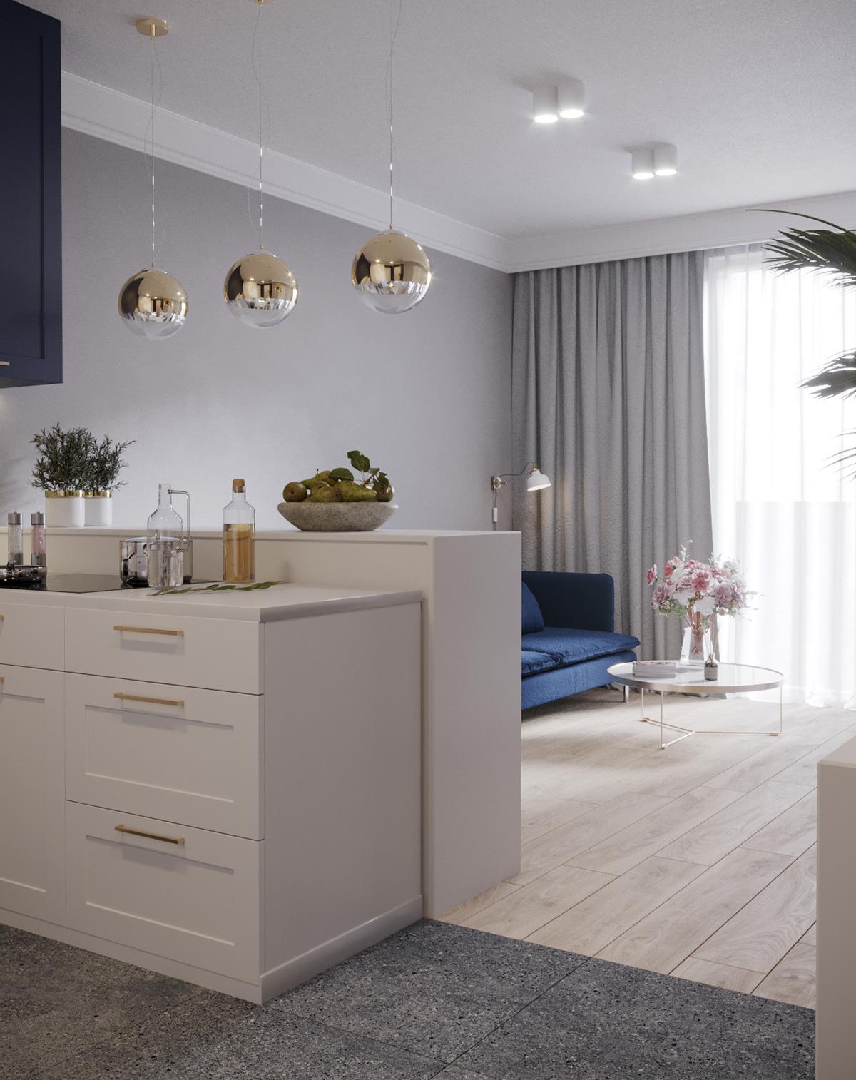 gold Interior kitchen navy blue