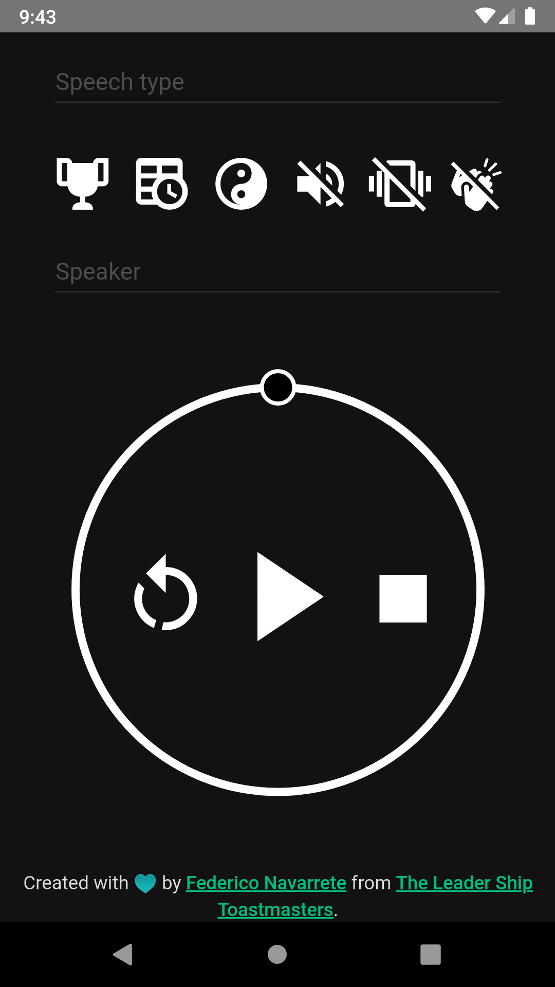 dark mode android Xamarin toastmasters public speaking timer stopwatch material design html5