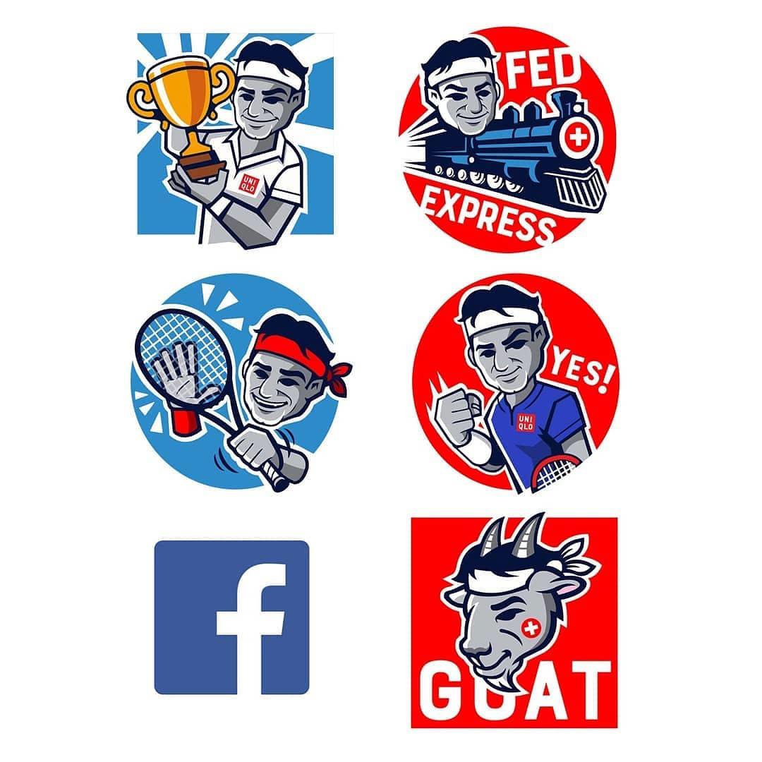 tennis roger federer facebook Emojis stickers sports art design