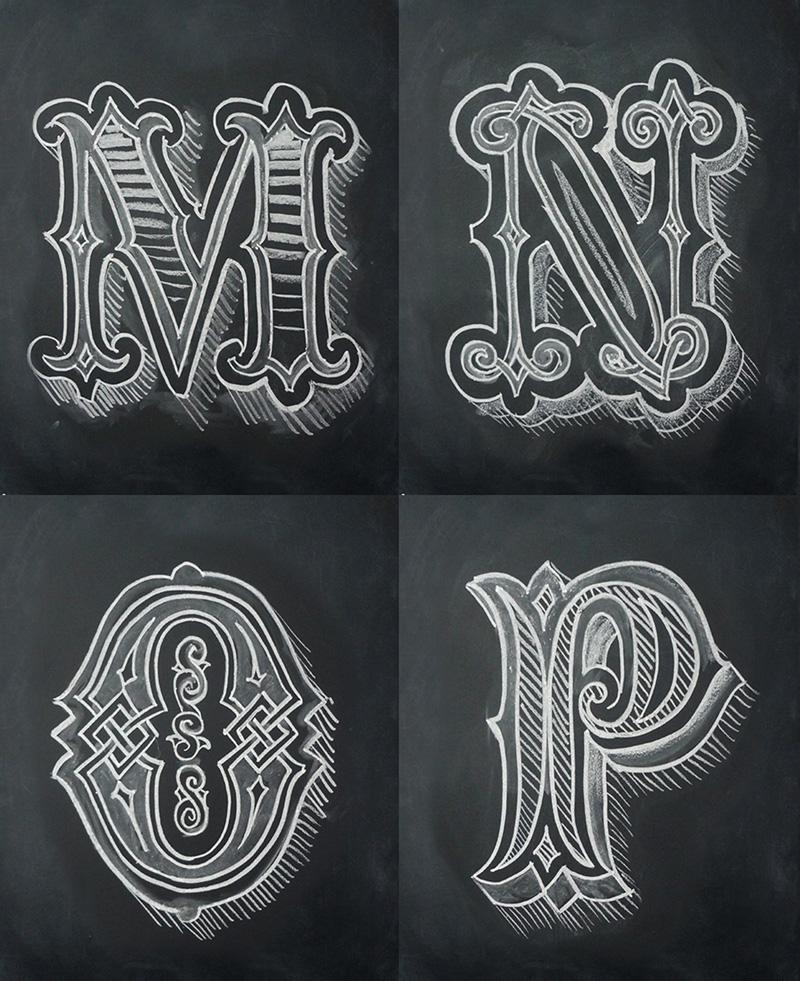 alphabet  chalk  Black  white lettering Mural