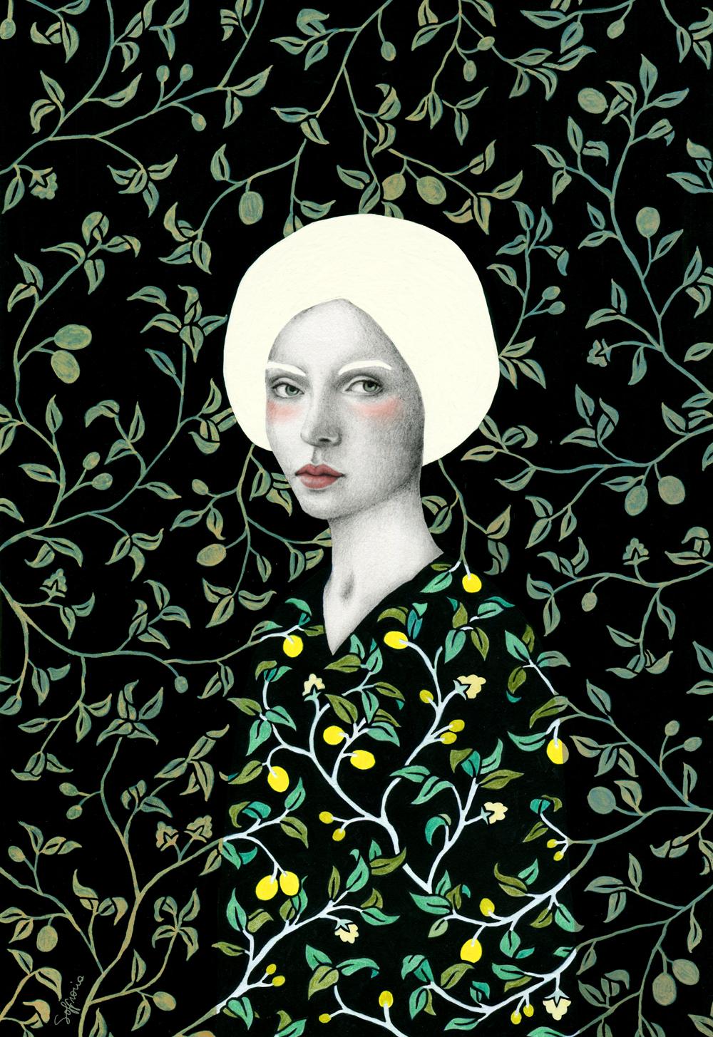 woman pattern Posca Liquitex portrait watercolor plants