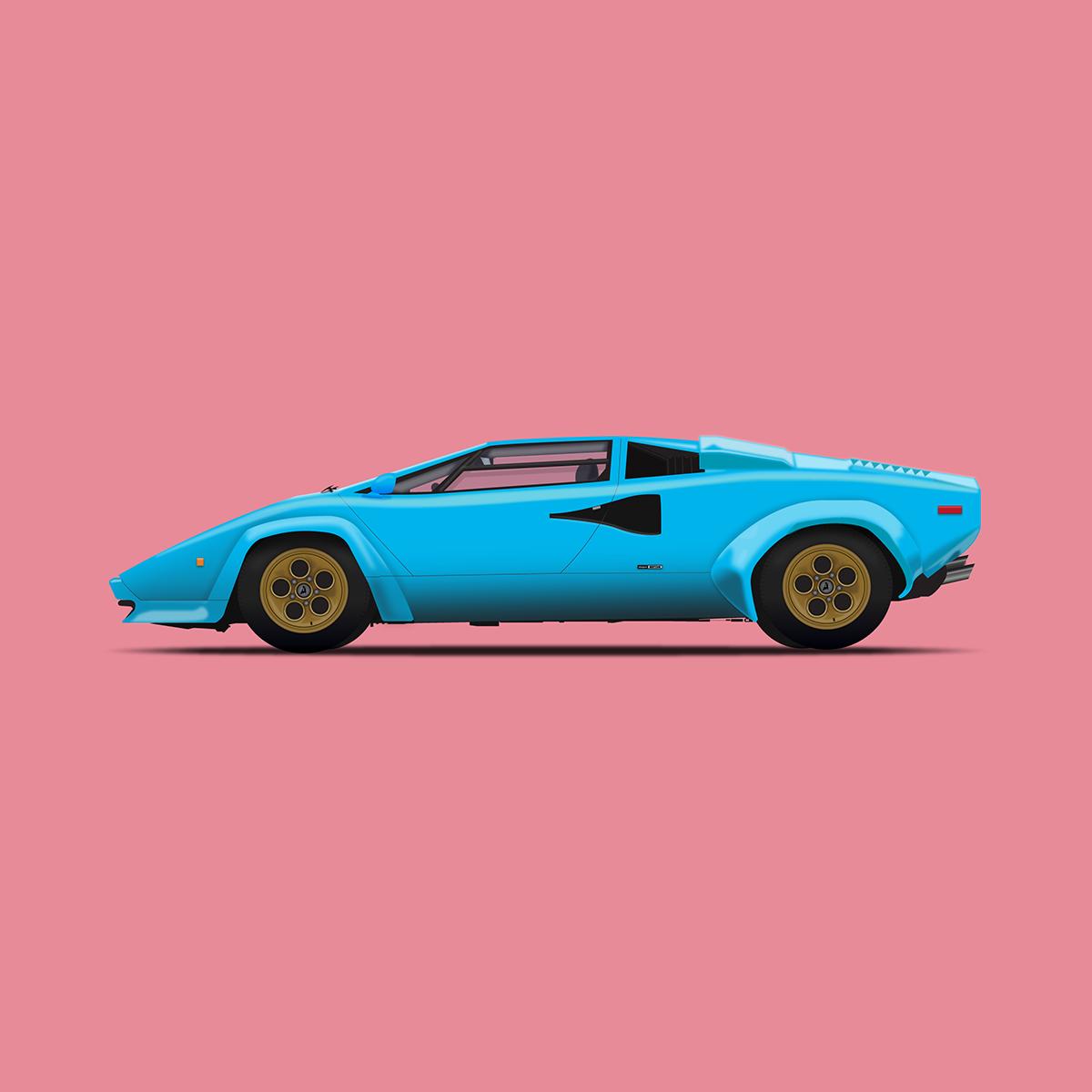 Lamborghini Countach Vector Illustration On Behance