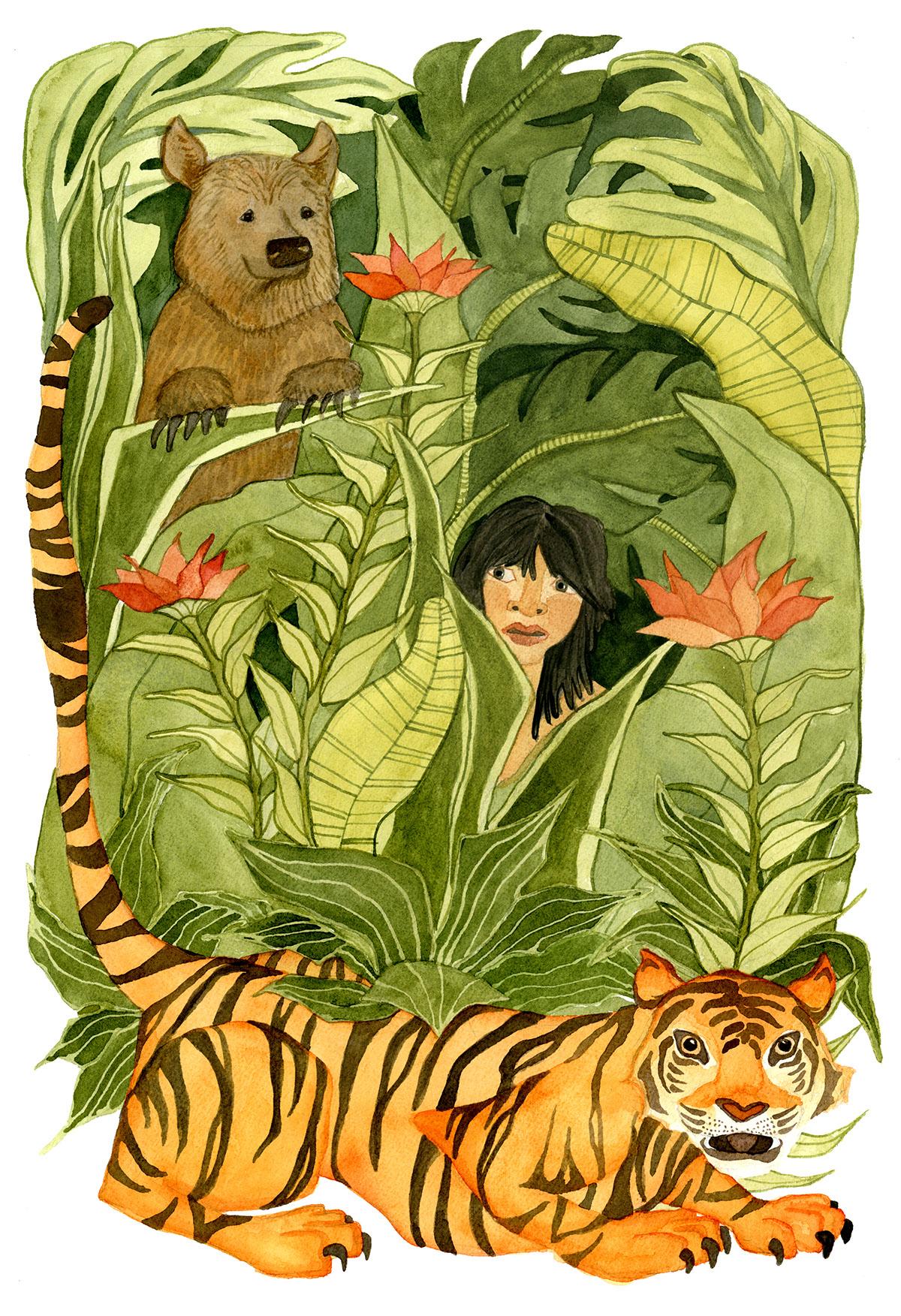 jungle flower mowgli baloo Shere Khan The Jungle Book plants vines banana leaves tiger bear watercolor bromeliad