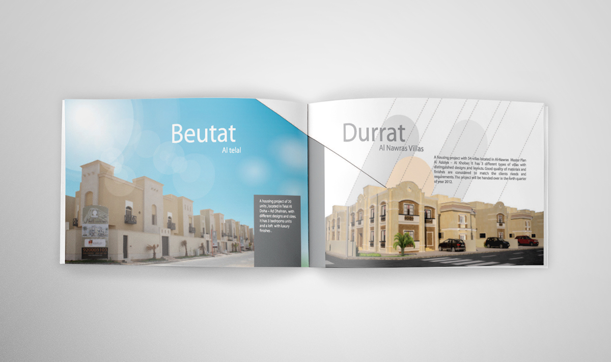 Saudi Rama company profile brochure Booklet Design Layout middle east arabic real estate projects