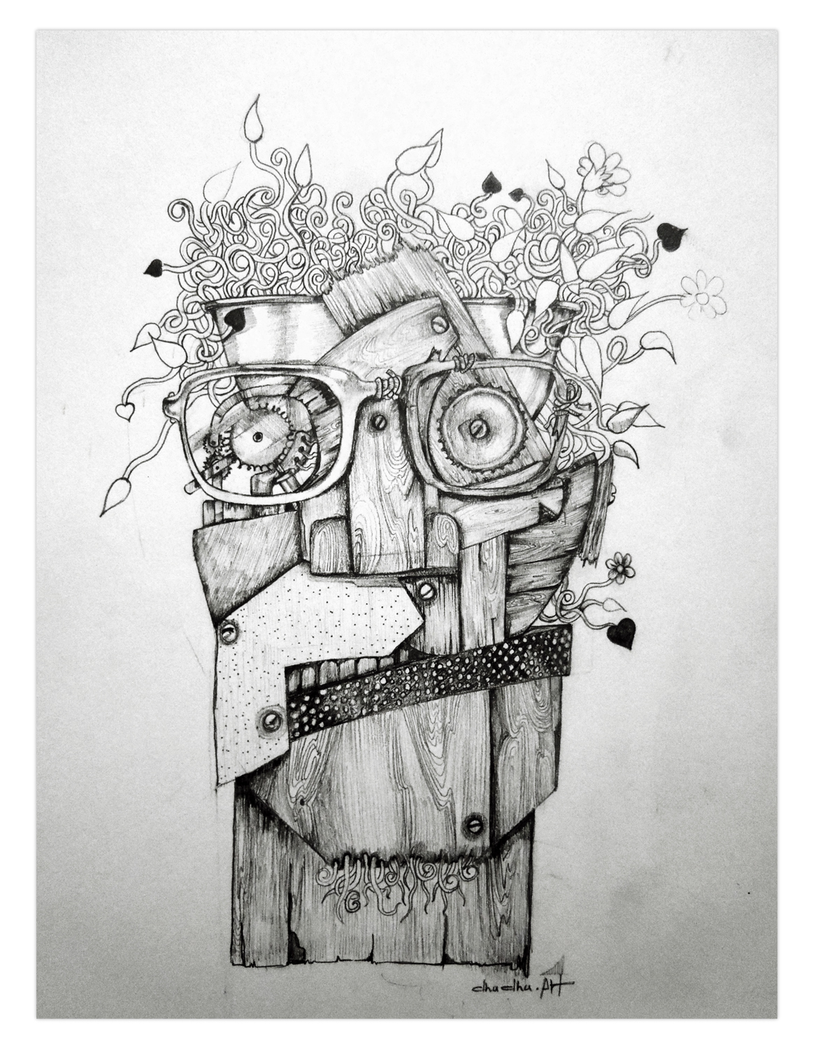 Abstract pencil drawing on behance