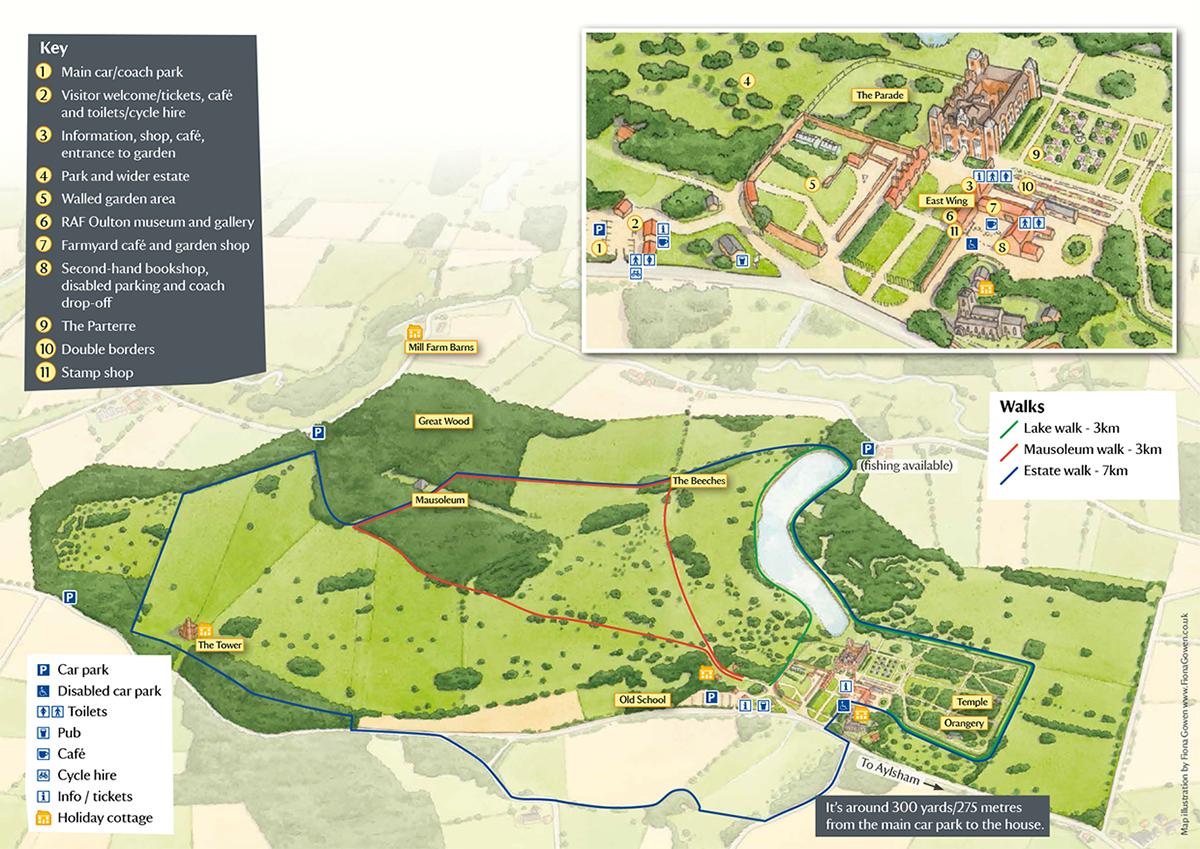 Illustrated map of Blickling Hall and Gardens for visitors. With a key and numbers by Fiona Gowen