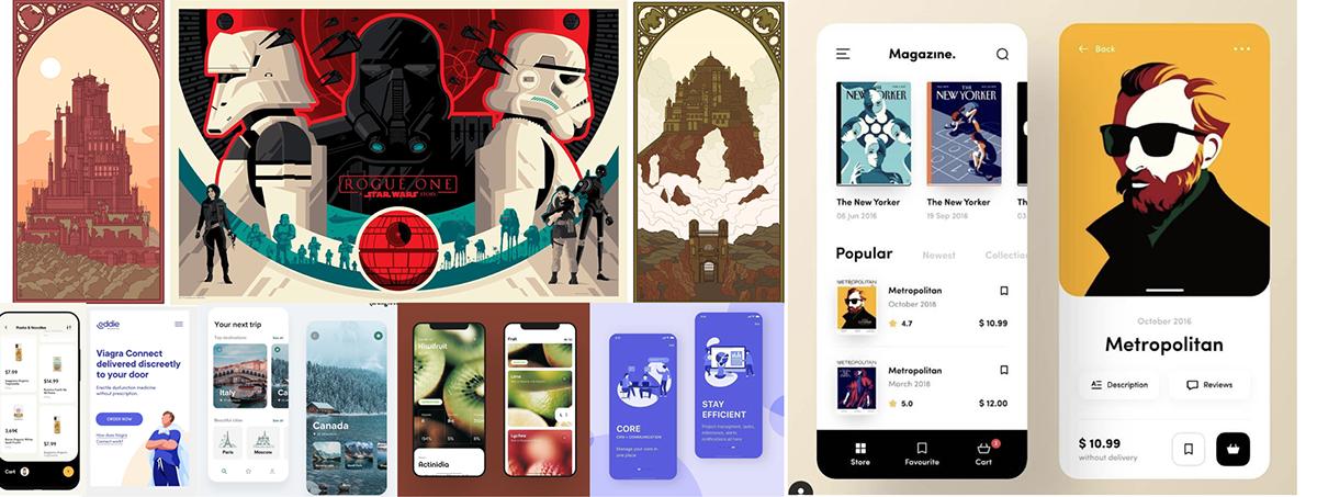 app design castles illustrations mobile Illustrator prototype xD
