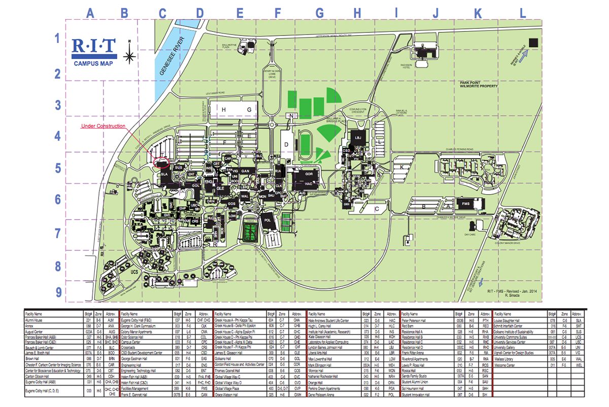 The rit campus map before the redesign i really focused on picking out the most relevant information as well as simplifying walkways and buildings