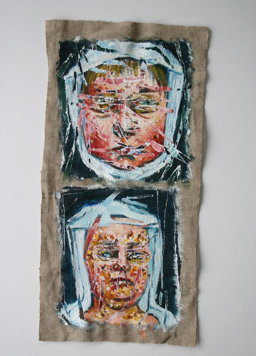 acrylic portrait Portraiture figurative figures Human Body body Disease medical history death fever yellow fever dead five blue marks