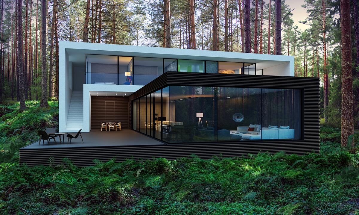 House in kiev 300m2 on behance for Casa minimalista 300m2