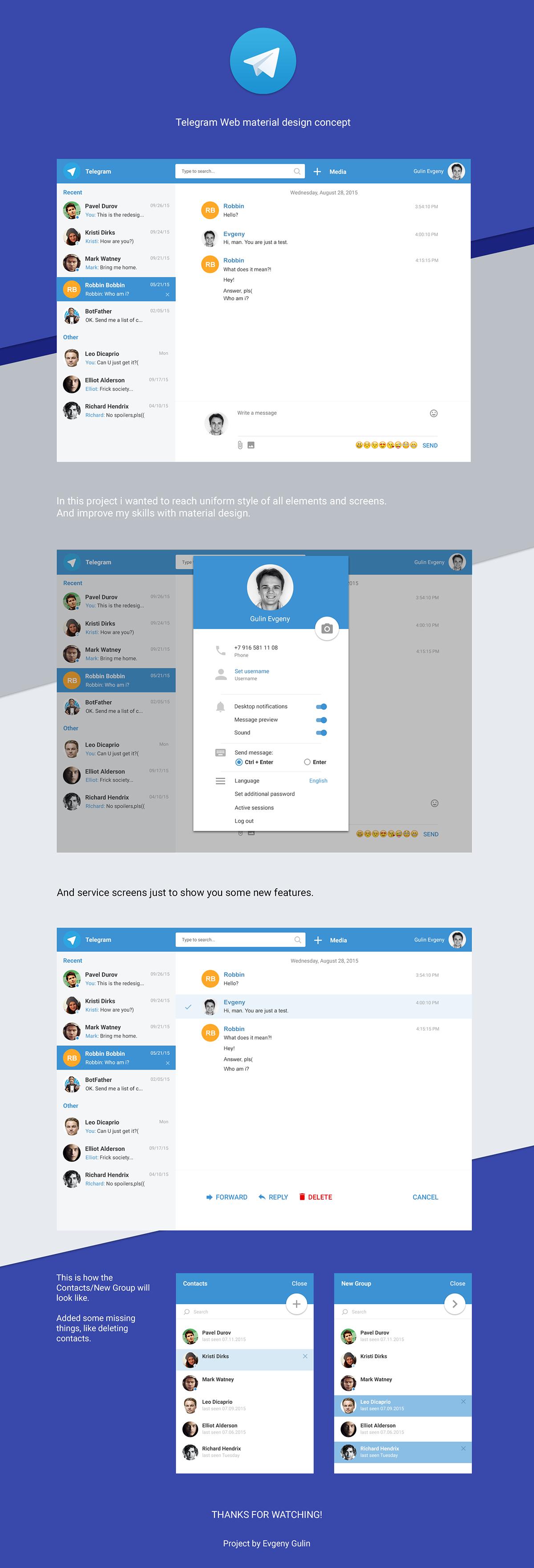 Telegram Web Material Design on Behance
