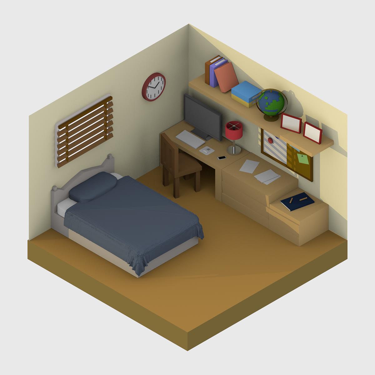 3d Isometric Bedroom On Behance