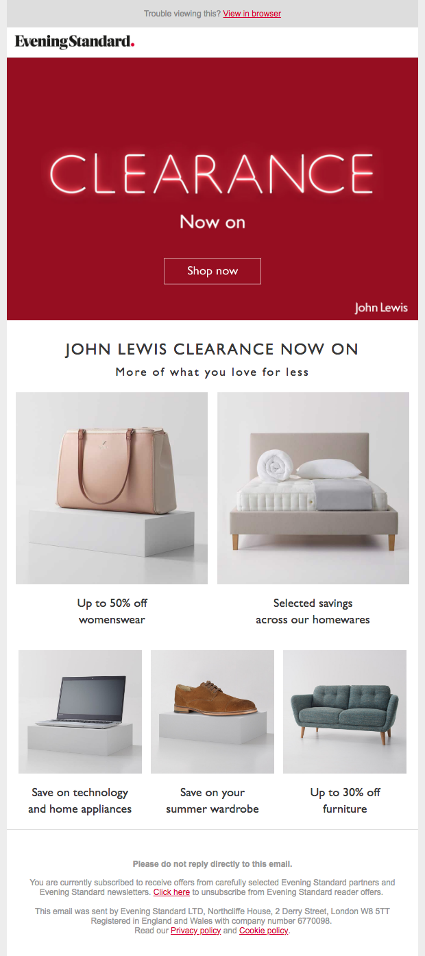 John Lewis Email newsletter Clearance