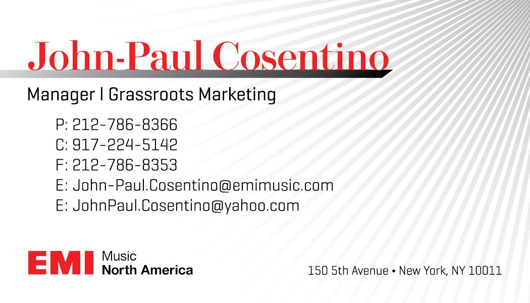 John paul cosentino manager at emi music business card on behance colourmoves