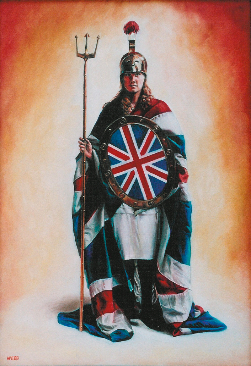 1920s girl dressed as Britannia - oil on canvas