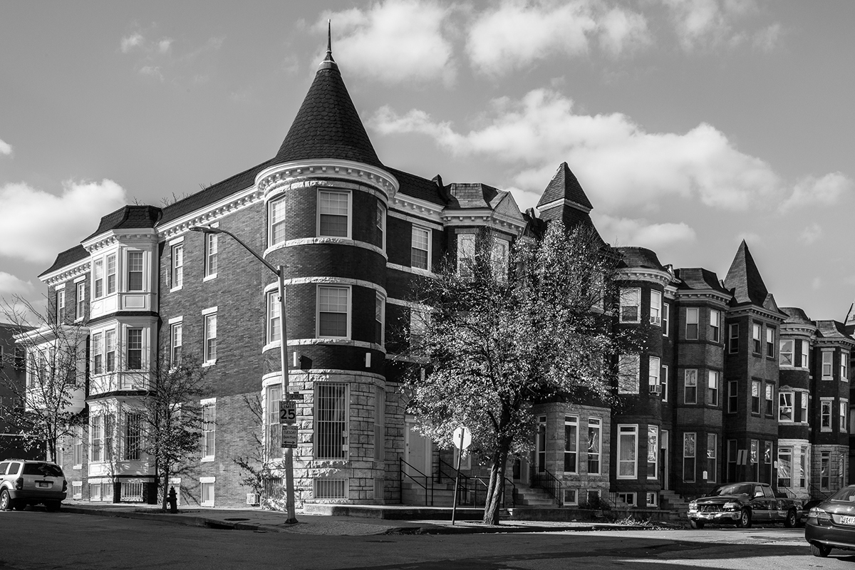 reservoir hill Baltimore usa row house house building neighborhood america black and white Landscape maryland