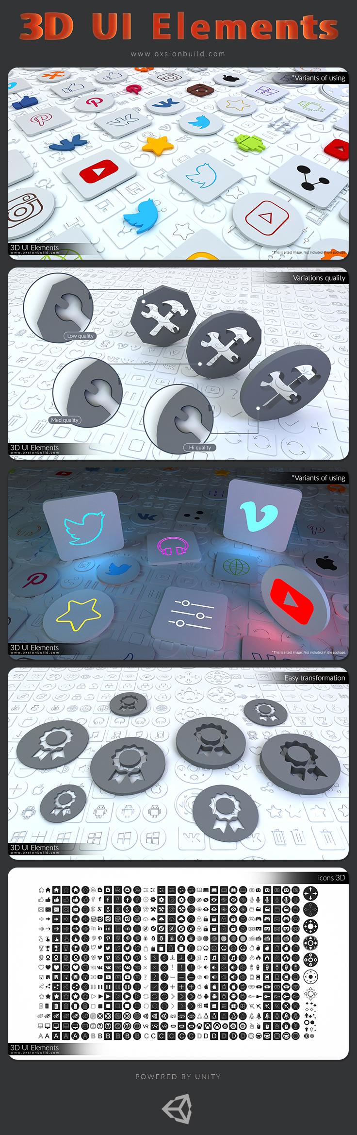 UI GUI user interface 3D alphabet number symbol icons